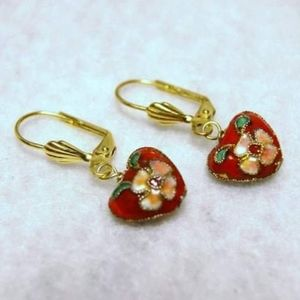 Red Floral Cloisonne Heart Brass Earrings